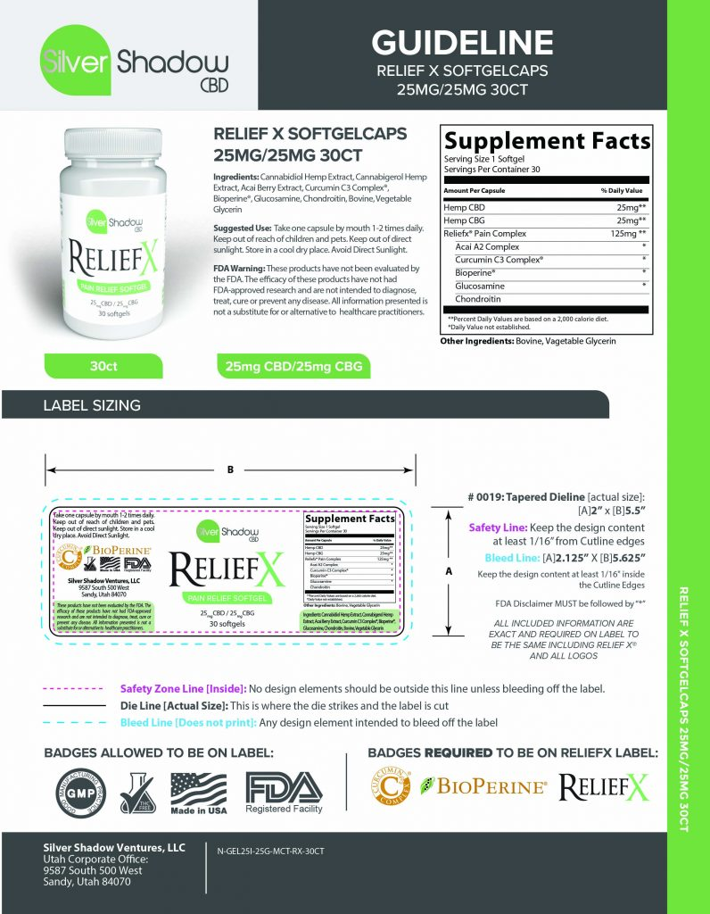Relief X 25mg CBD 25mg CBG Softgels