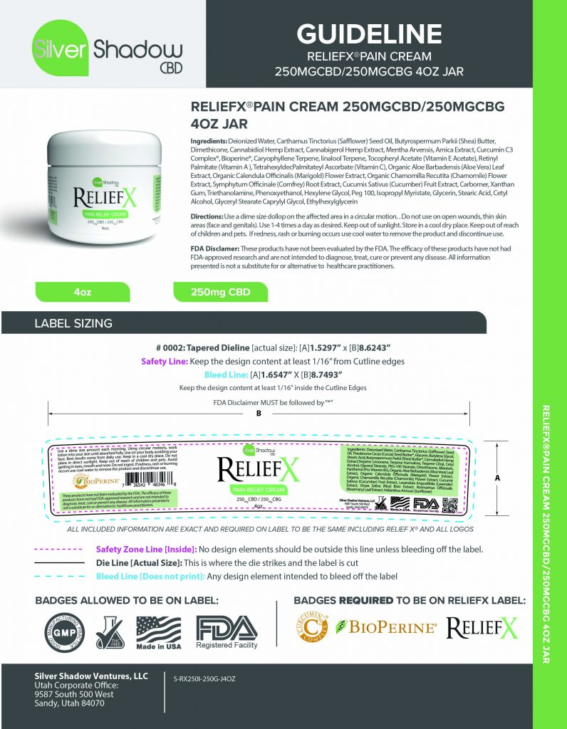 ReliefX Pain Cream 4oz